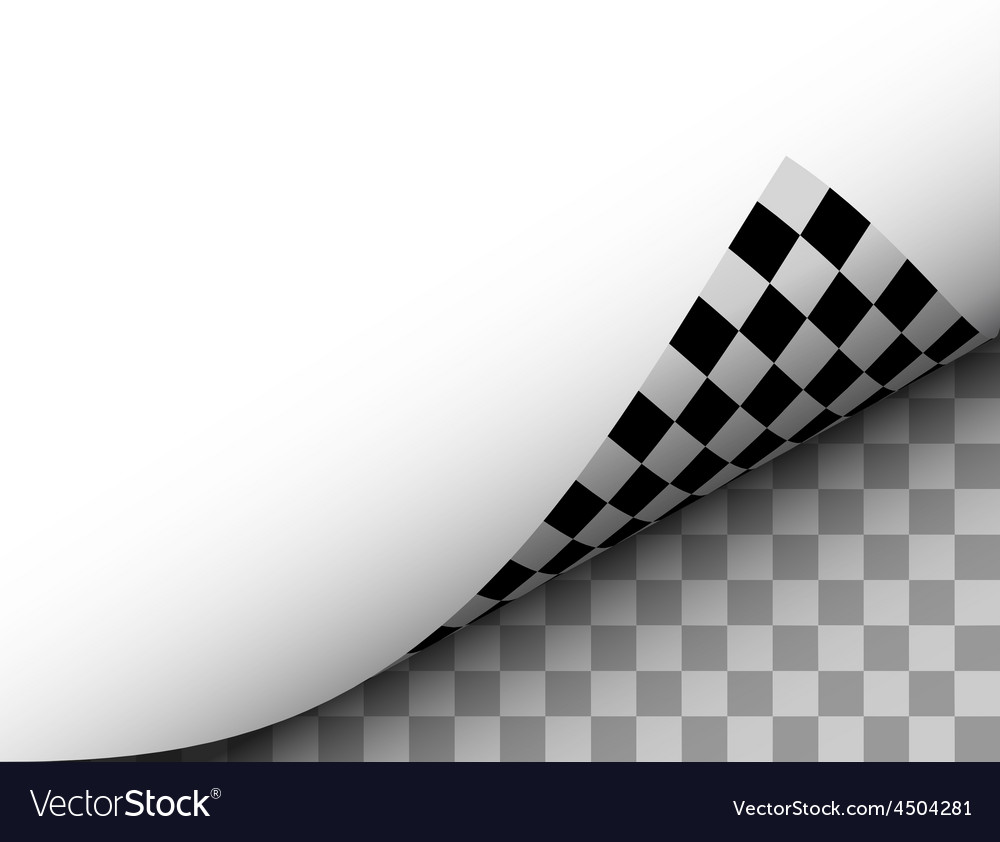 Blank paper sheet with checkered page curl black vector | Price: 1 Credit (USD $1)