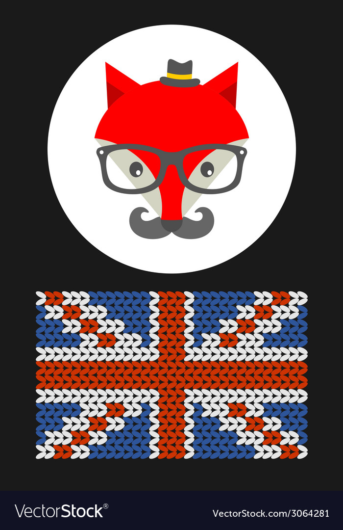 Hipster fox with the flag of grait britain vector | Price: 1 Credit (USD $1)