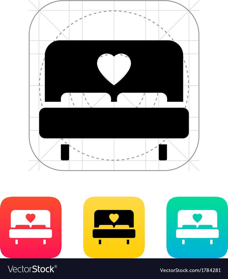Romantic bed icon vector | Price: 1 Credit (USD $1)
