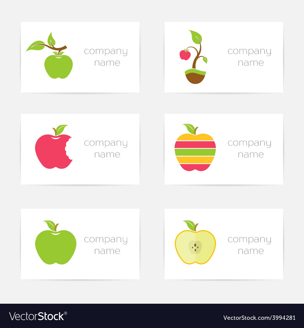 Set of logos of apples vector | Price: 1 Credit (USD $1)