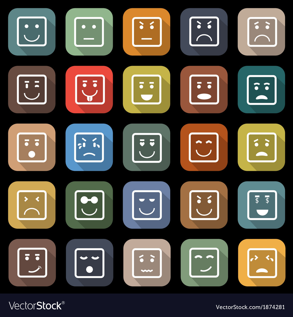 Square face flat icons with long shadow vector | Price: 1 Credit (USD $1)
