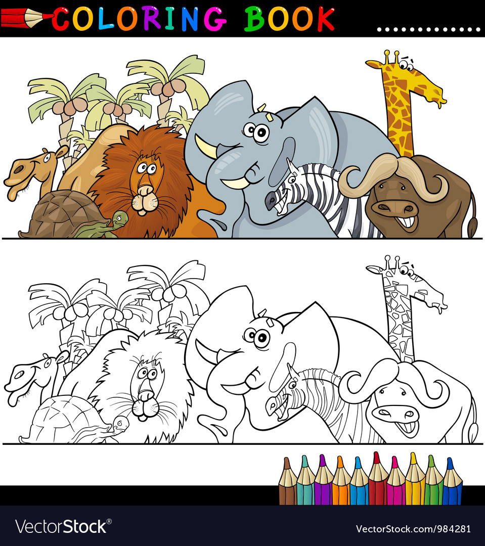 Wild safari animals for coloring vector | Price: 3 Credit (USD $3)