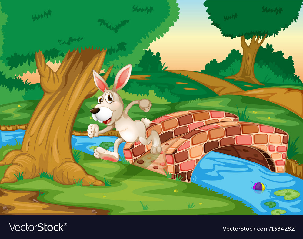 A bunny running across the bridge vector | Price: 1 Credit (USD $1)