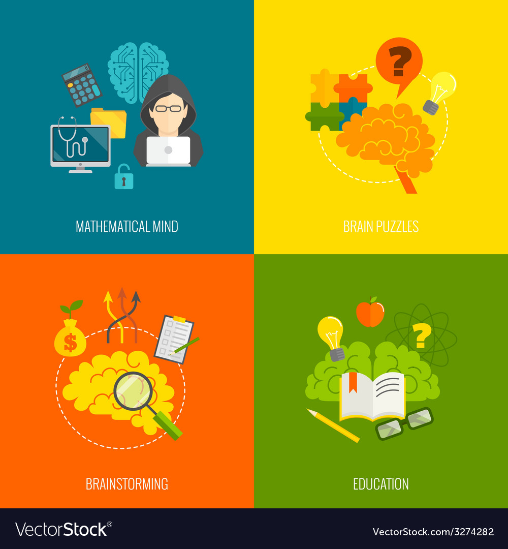Brain icons flat vector | Price: 1 Credit (USD $1)