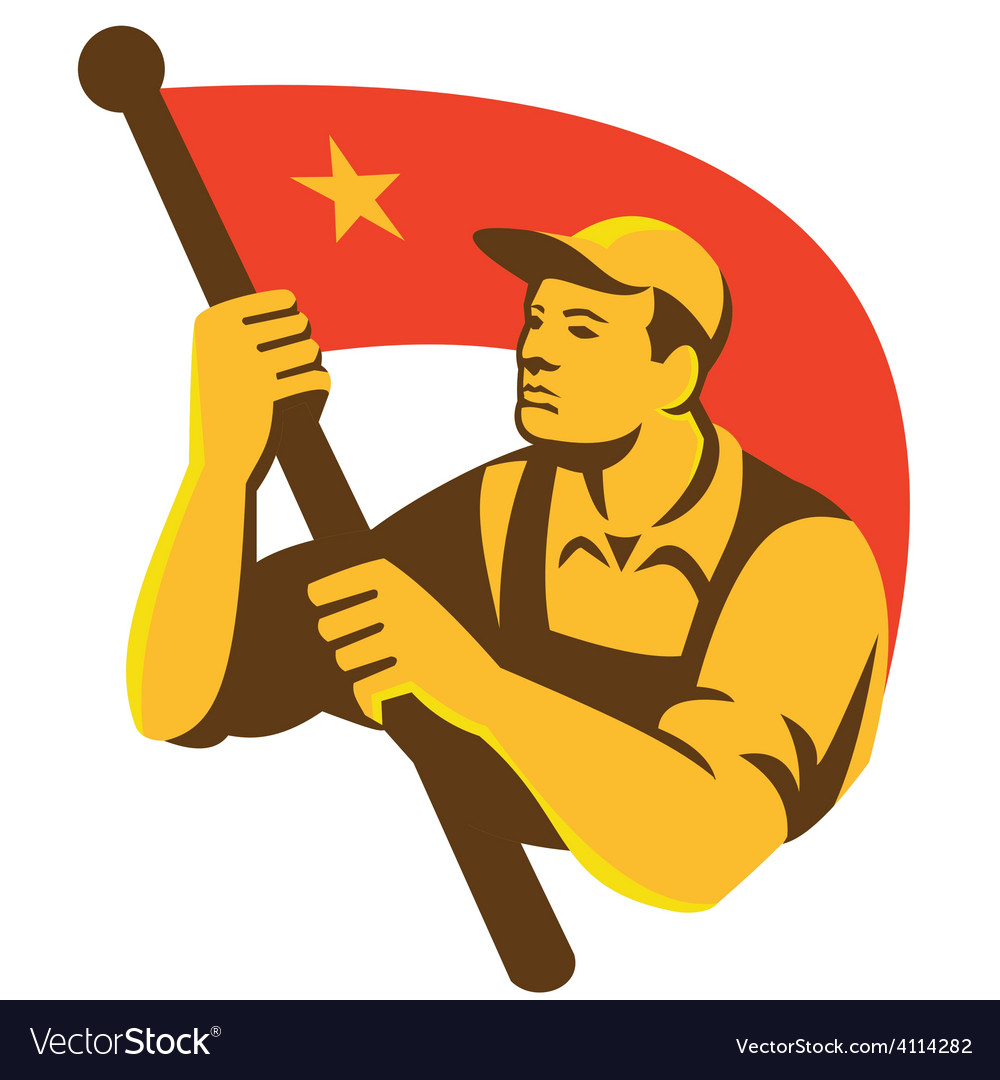 Communist worker with red flag star retro vector | Price: 1 Credit (USD $1)