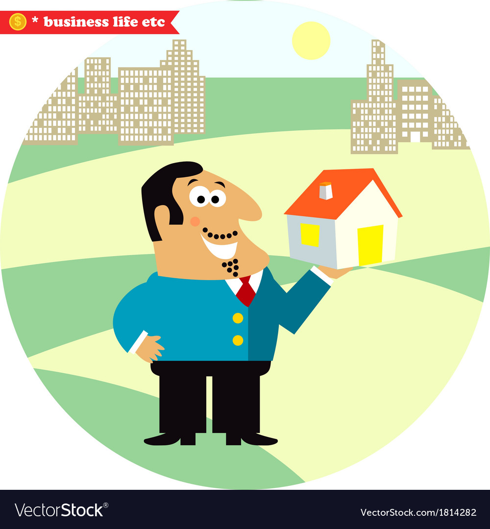 Happy director with new building vector | Price: 1 Credit (USD $1)