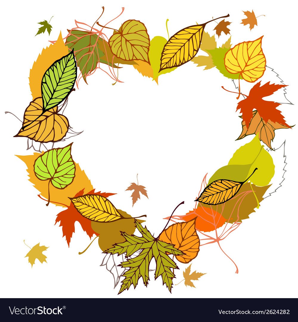Heart shaped wreath made of autumn leaves vector | Price: 1 Credit (USD $1)
