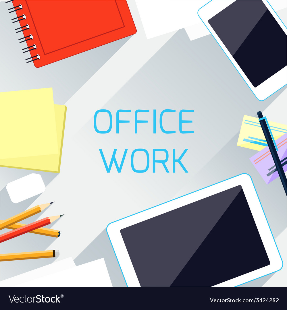 Office work and workplace organization concept vector | Price: 1 Credit (USD $1)