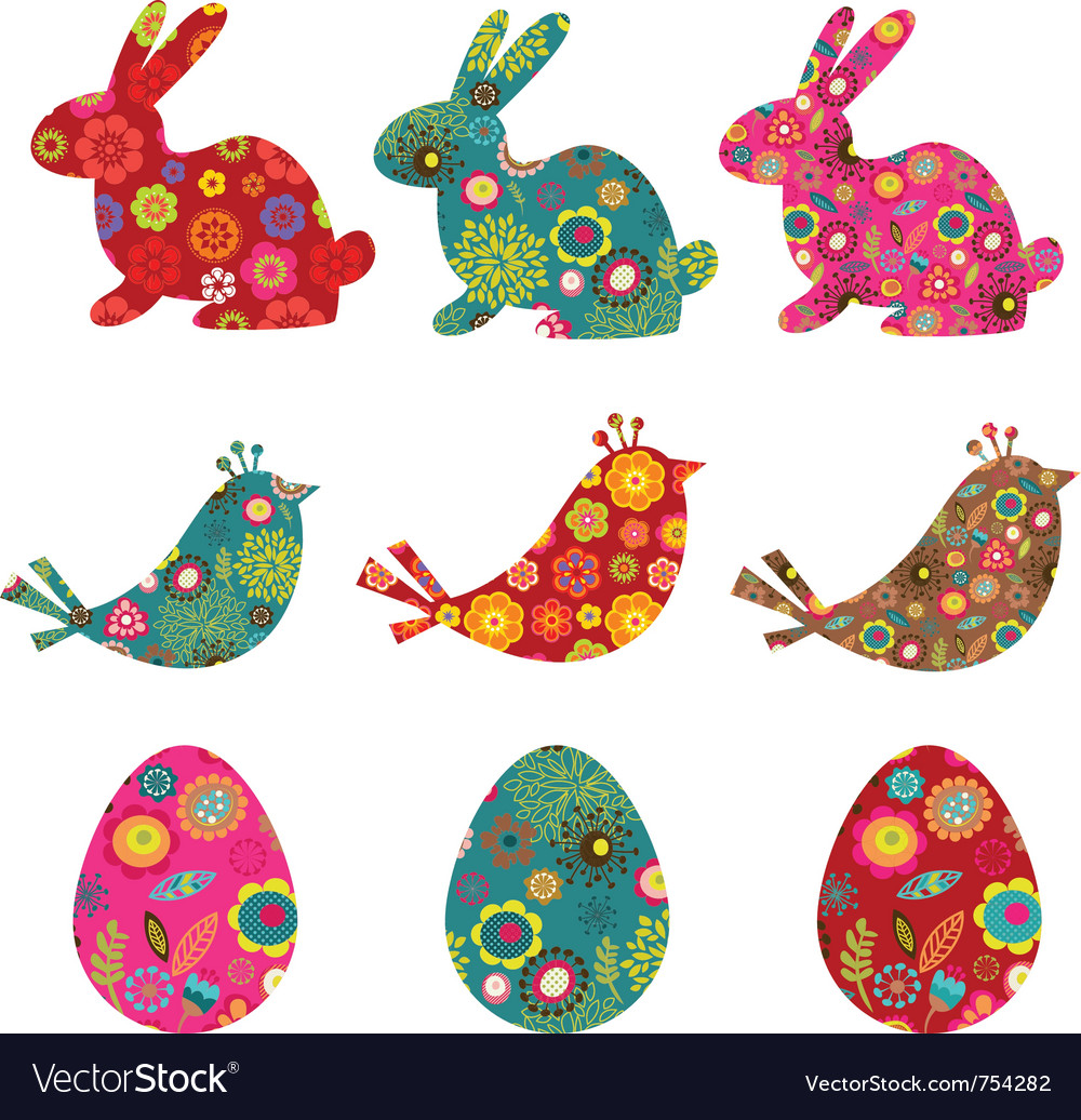Patterned bunnies birds and eggs vector | Price: 1 Credit (USD $1)