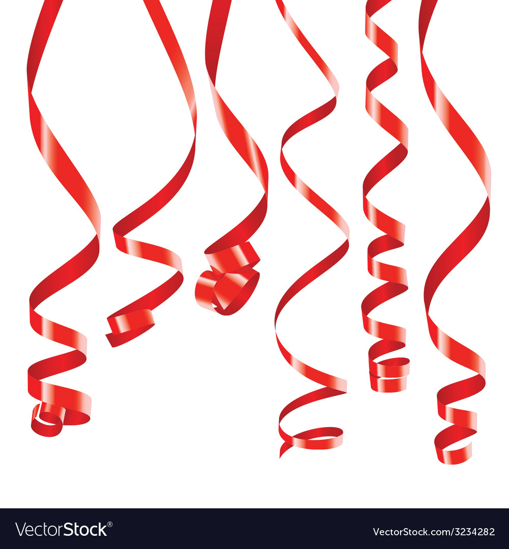 Red curling party ribbons vector | Price: 1 Credit (USD $1)