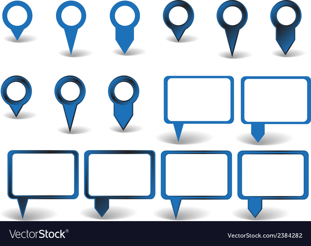 Set of blue pointers on white background with vector | Price: 1 Credit (USD $1)