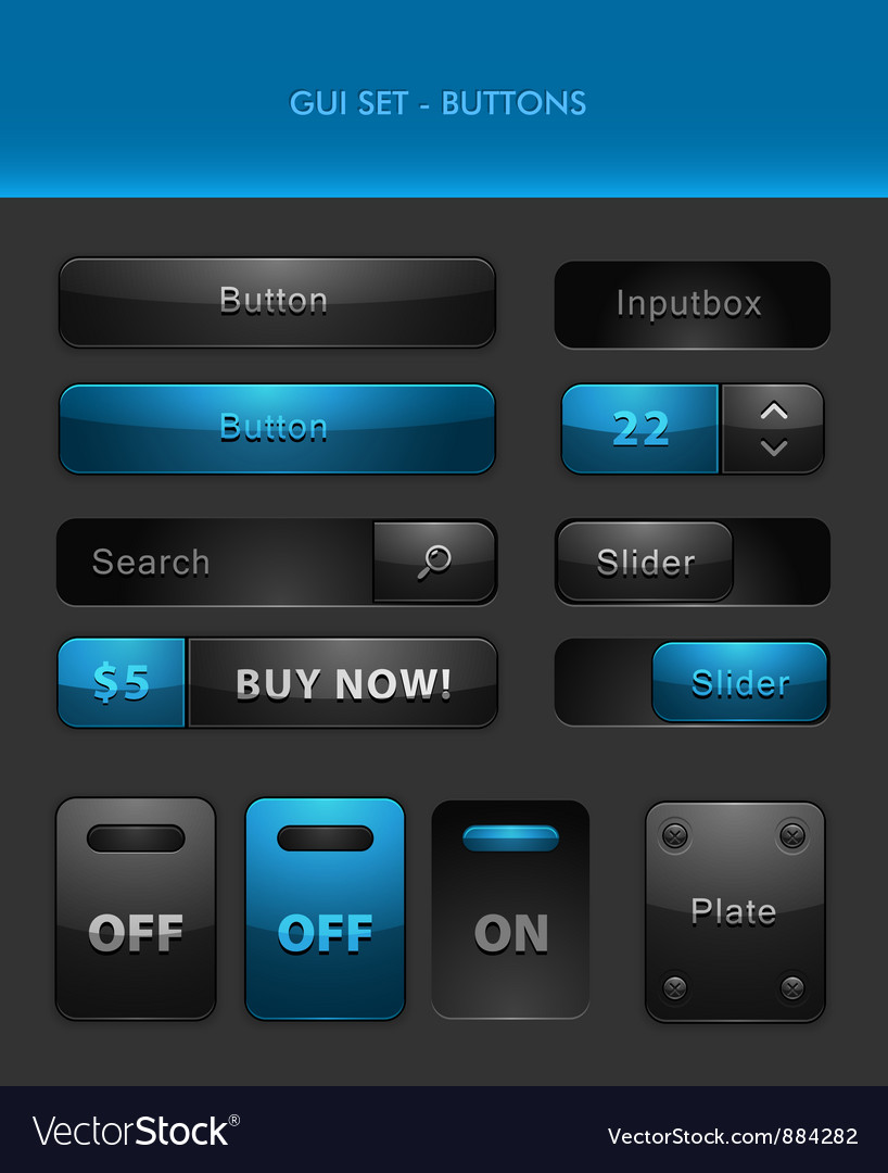 User interface elements - buttons vector | Price: 1 Credit (USD $1)