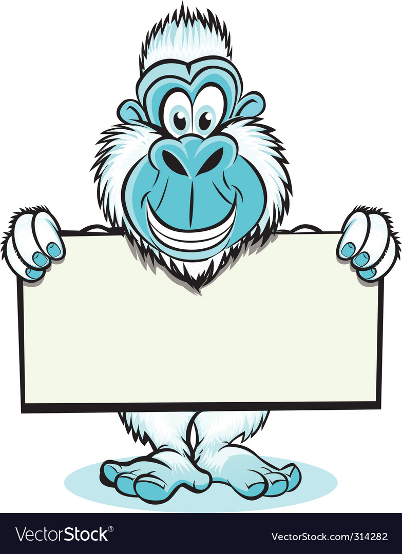 Yeti holding sign vector | Price: 3 Credit (USD $3)