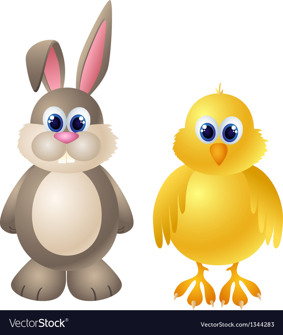 Cartoon rabbit and chicken character vector | Price: 1 Credit (USD $1)