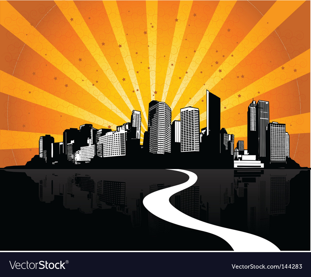 City with sunshine ray vector | Price: 1 Credit (USD $1)