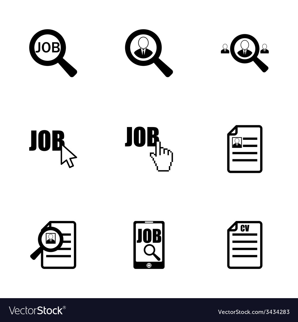 Job search icon set vector | Price: 1 Credit (USD $1)