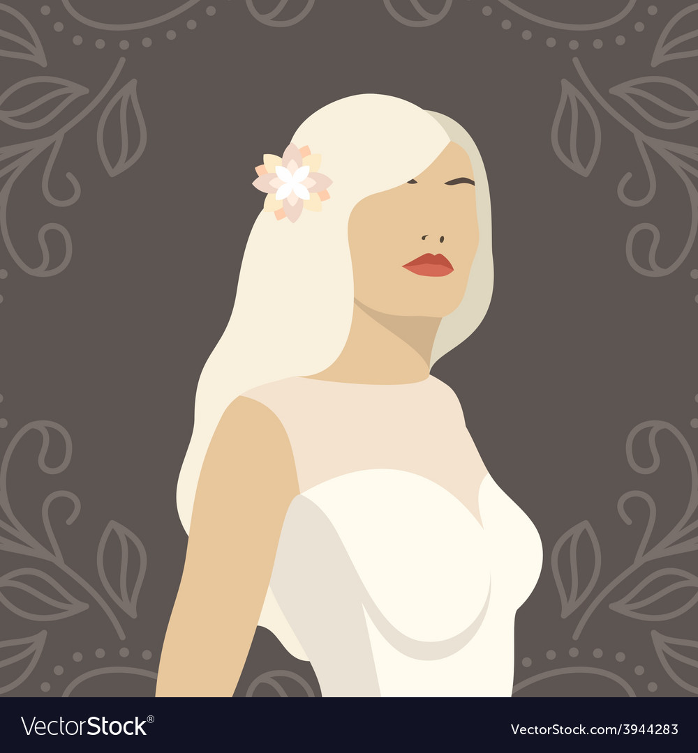 Lovely bride female in wedding dress design vector | Price: 1 Credit (USD $1)