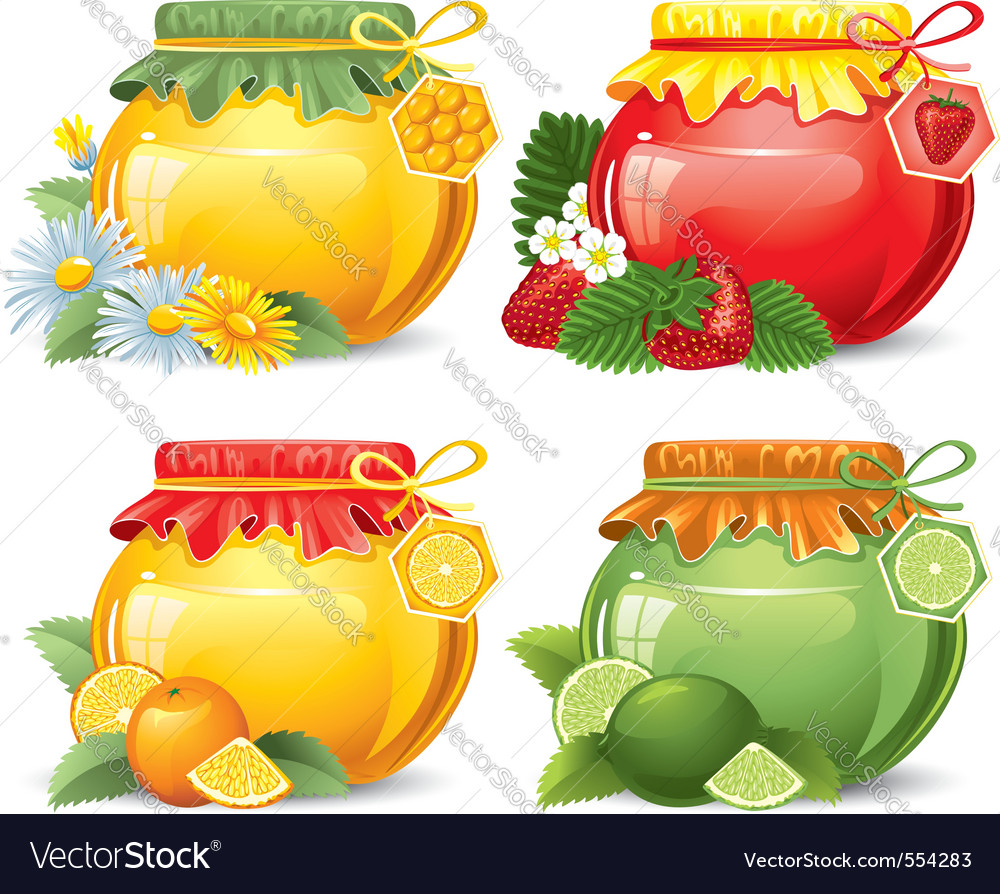 Marmalade and honey in cute jars homemade isolated vector | Price: 1 Credit (USD $1)