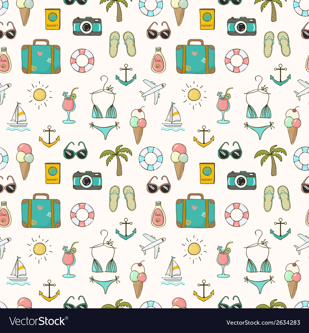 On vacation summer seamless pattern vector | Price: 1 Credit (USD $1)