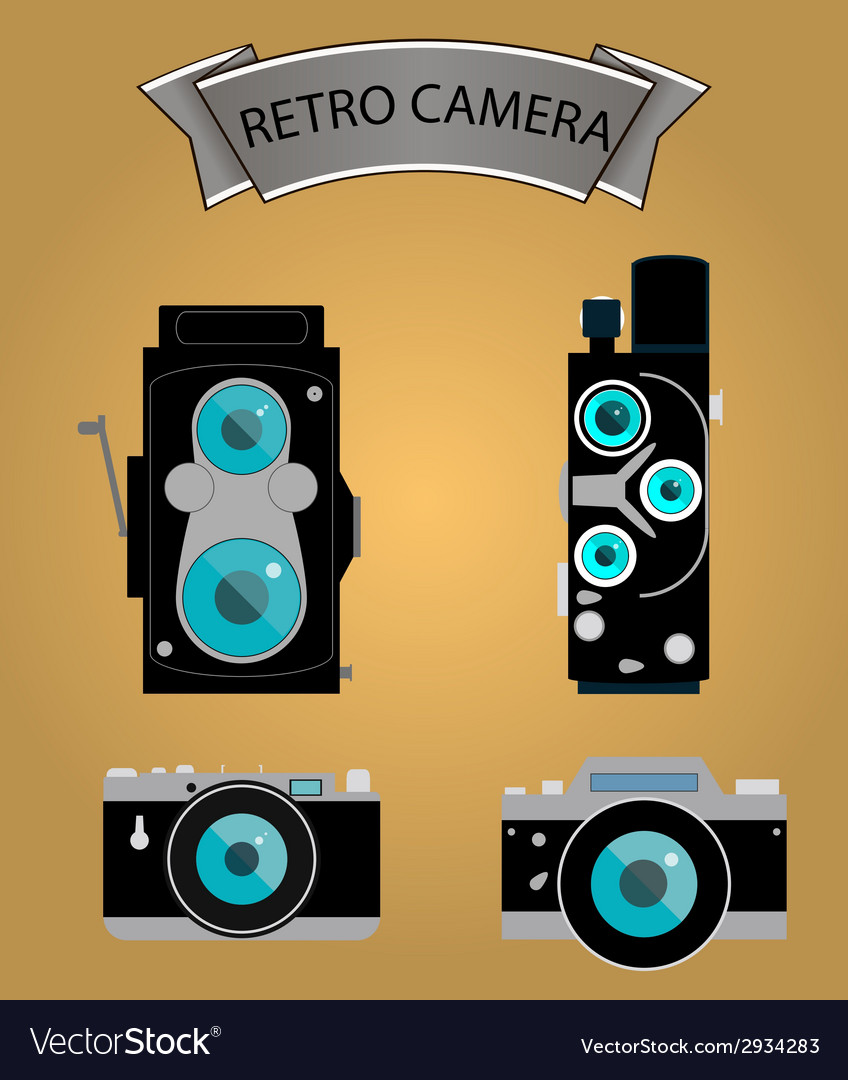 Photo camera icons set in flat style vector | Price: 1 Credit (USD $1)
