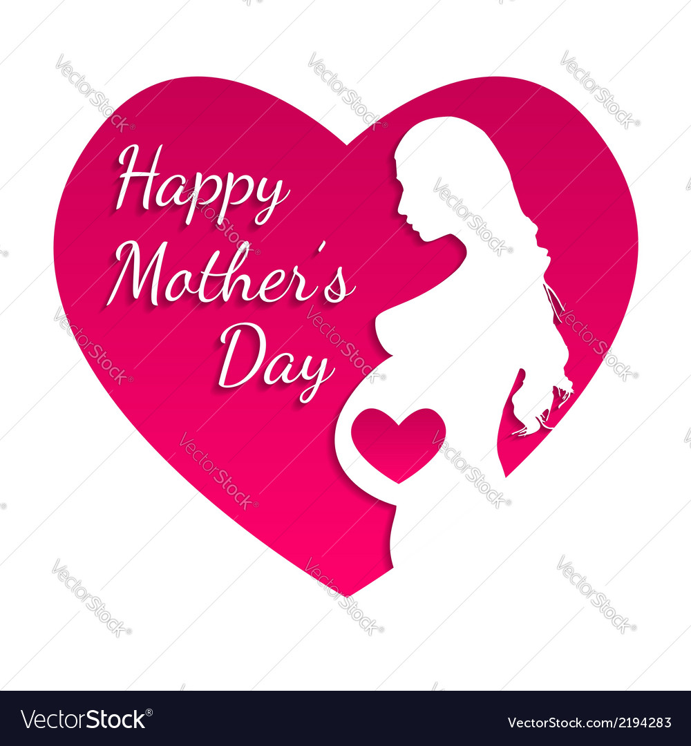 Pregnant happy mothers day greeting card vector | Price: 1 Credit (USD $1)