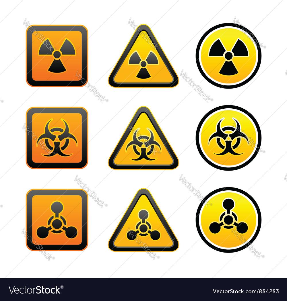 Set hazard warning radiation symbols vector | Price: 1 Credit (USD $1)