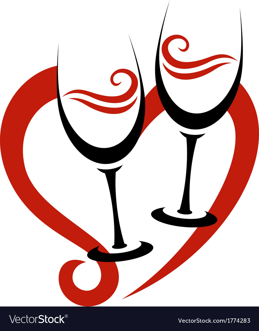 Two abstract glasses of red wine  heart vector | Price: 1 Credit (USD $1)