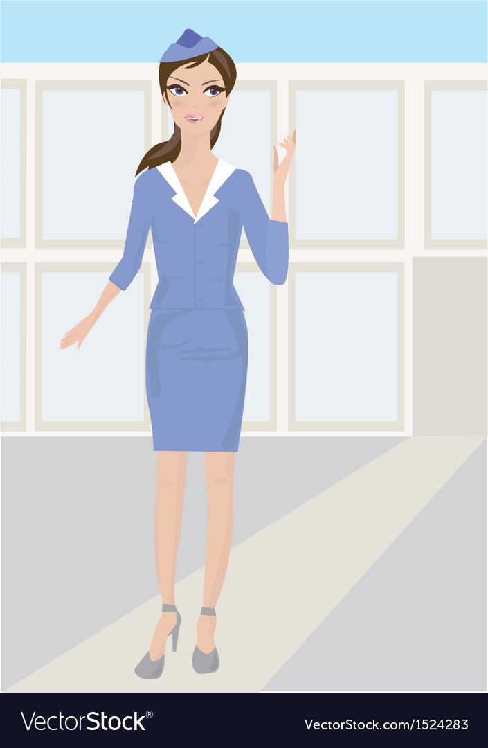 Woman stewardess standing in airport vector | Price: 1 Credit (USD $1)