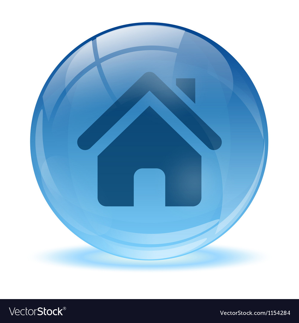 3d glass sphere home icon vector | Price: 1 Credit (USD $1)