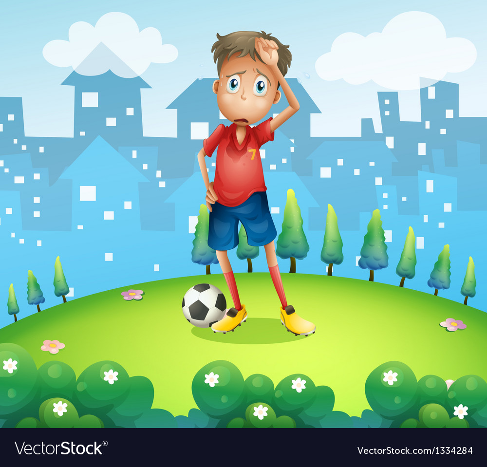 A tired soccer player at the top of the hill vector   Price: 1 Credit (USD $1)