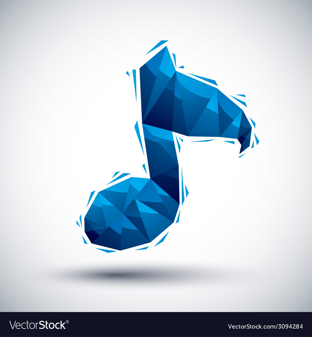 Blue musical note geometric icon made in 3d modern vector | Price: 1 Credit (USD $1)