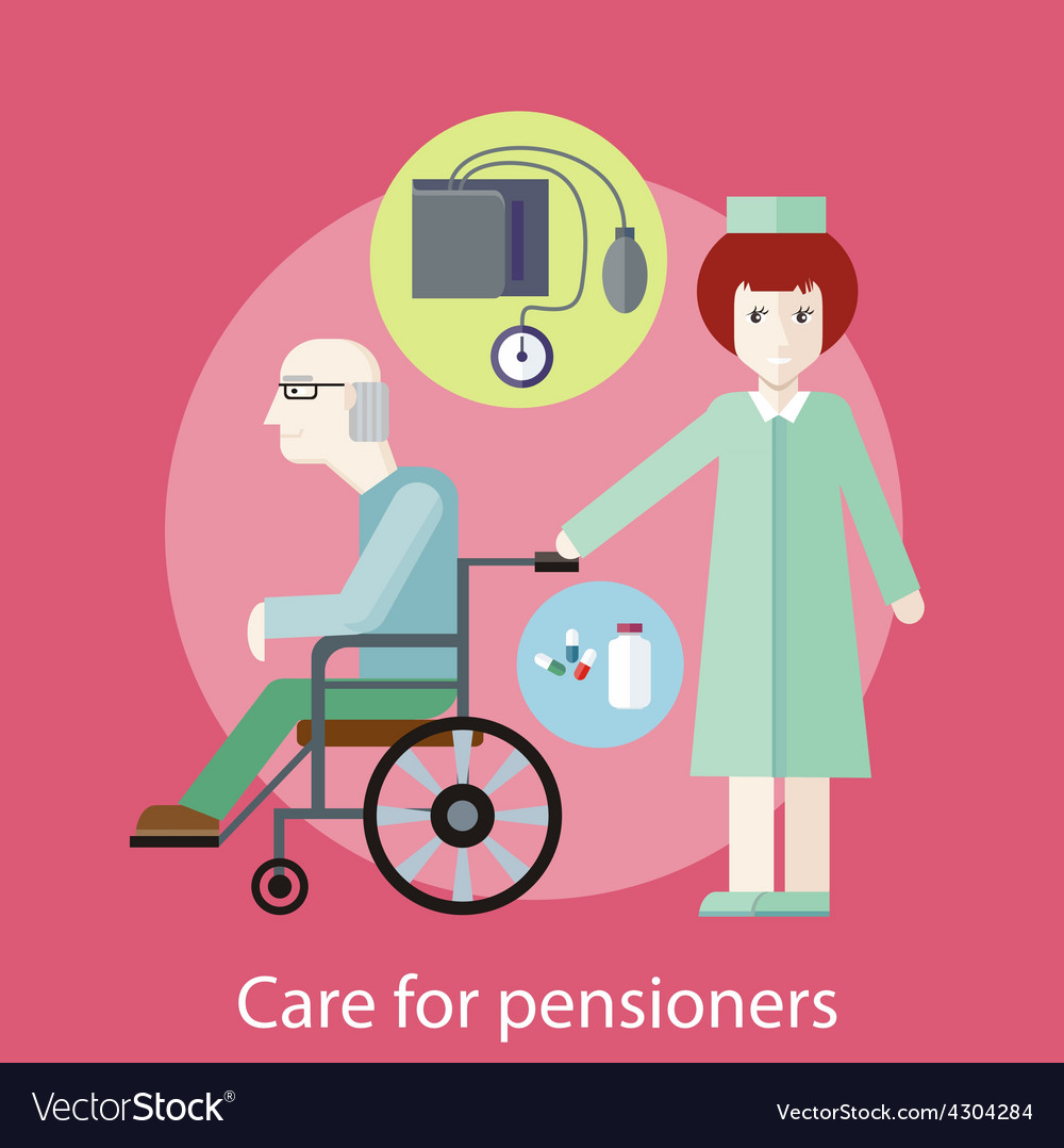 Care for pensioners vector | Price: 1 Credit (USD $1)