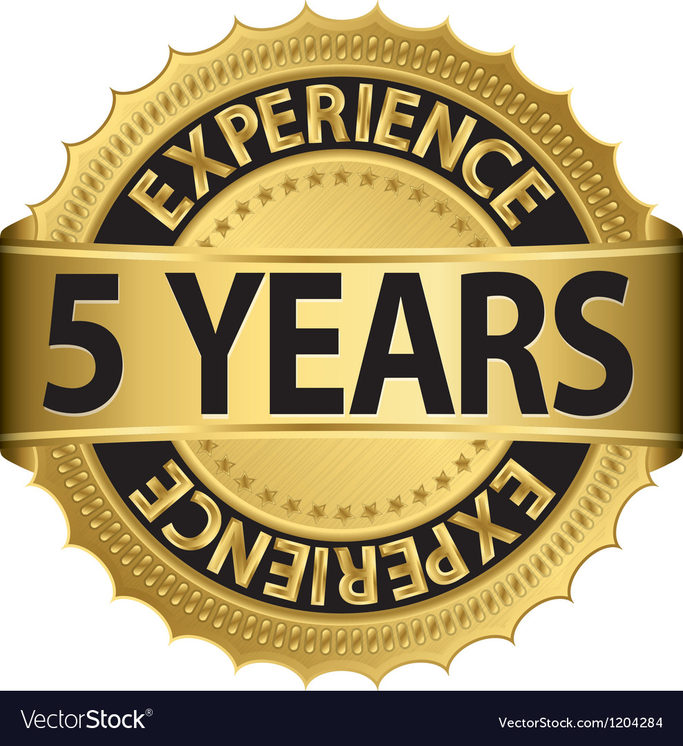 Grunge 5 years of experience golden label vector | Price: 1 Credit (USD $1)