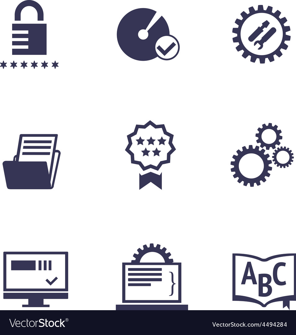 Icons of different services of it company vector | Price: 1 Credit (USD $1)