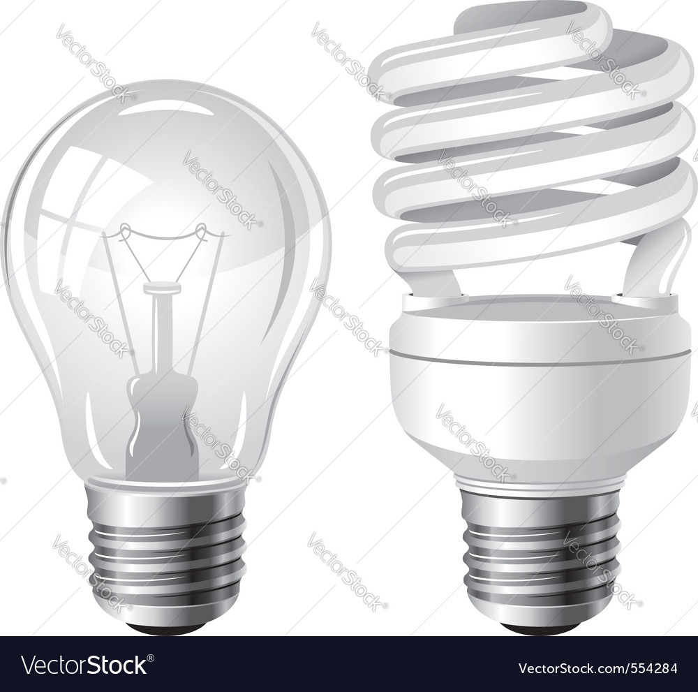 Incandescent and fluorescent energy saving light b vector | Price: 1 Credit (USD $1)