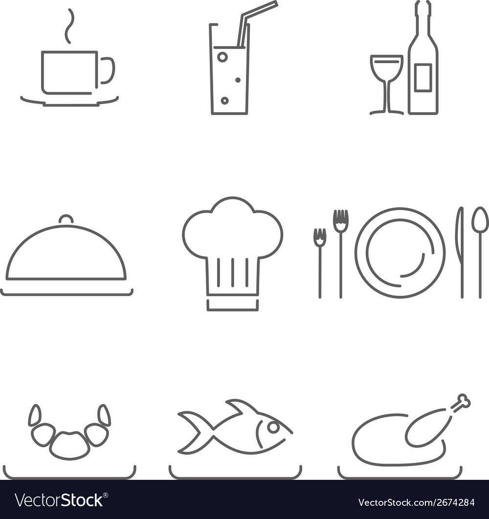 Modern line chef restaurant food cuisine icons and vector | Price: 1 Credit (USD $1)