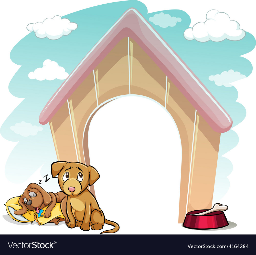 Puppies outside the doghouse vector | Price: 1 Credit (USD $1)