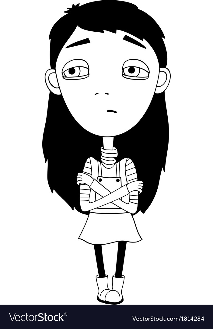 Sulky girl with braid and big eyes not smiling vector | Price: 1 Credit (USD $1)