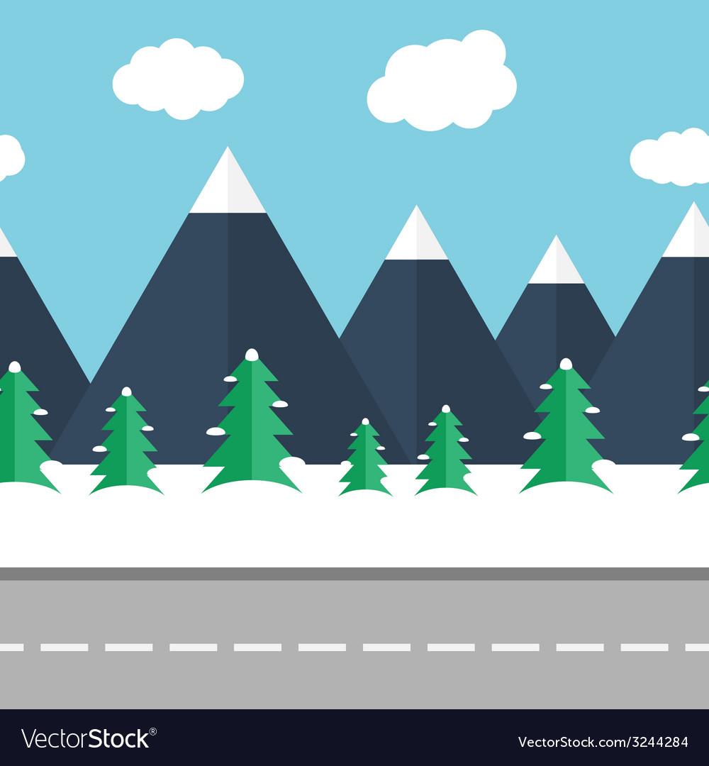 Winter landscape vector | Price: 1 Credit (USD $1)