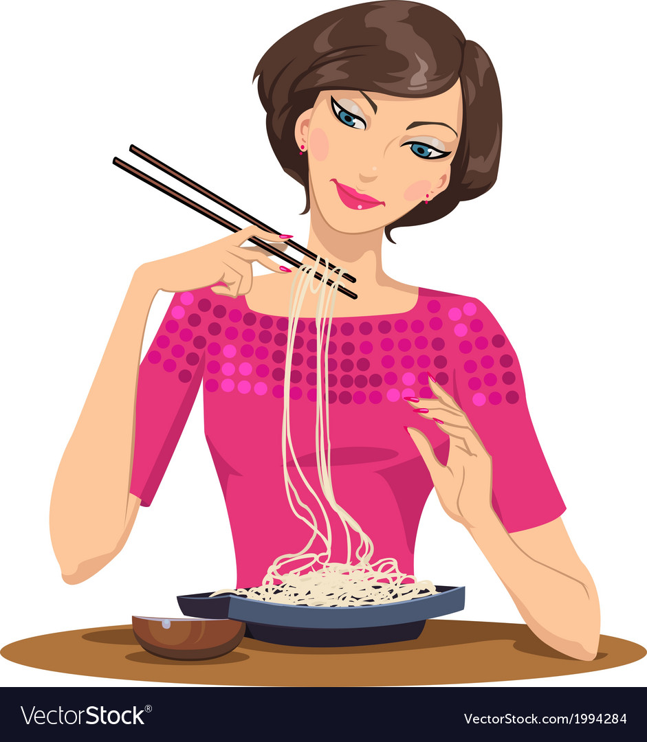 Woman eating pasta vector | Price: 1 Credit (USD $1)