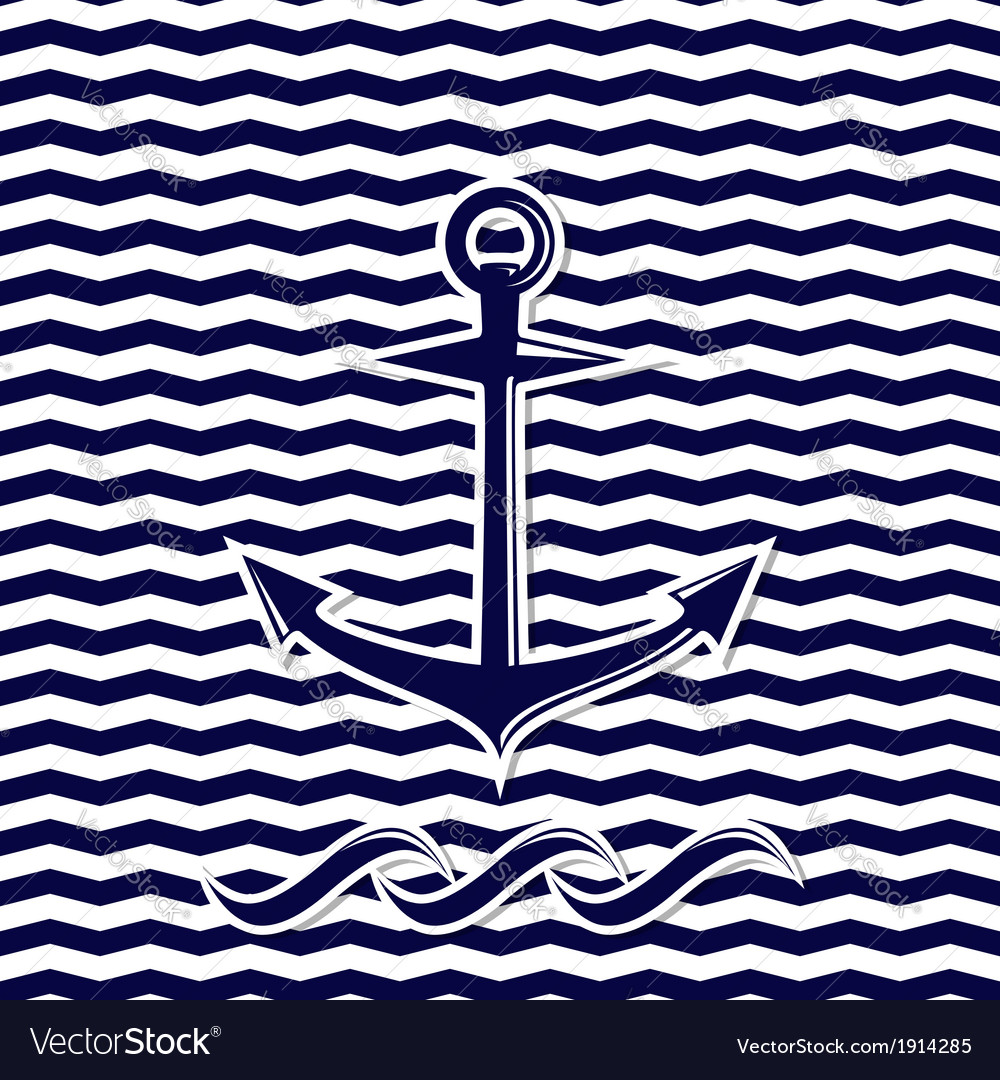 Anchor symbol on the chevron background vector | Price: 1 Credit (USD $1)