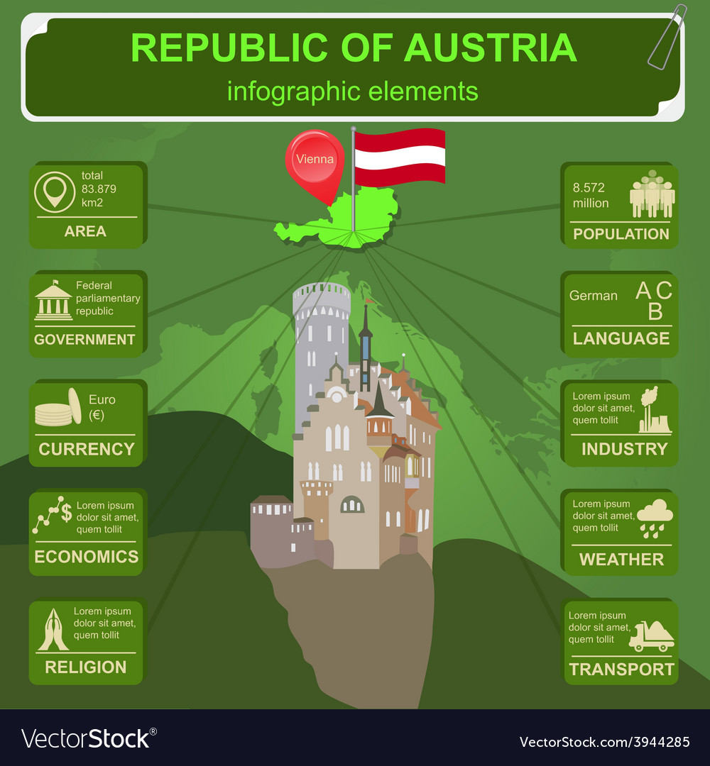 Austria infographics statistical data sights vector   Price: 1 Credit (USD $1)