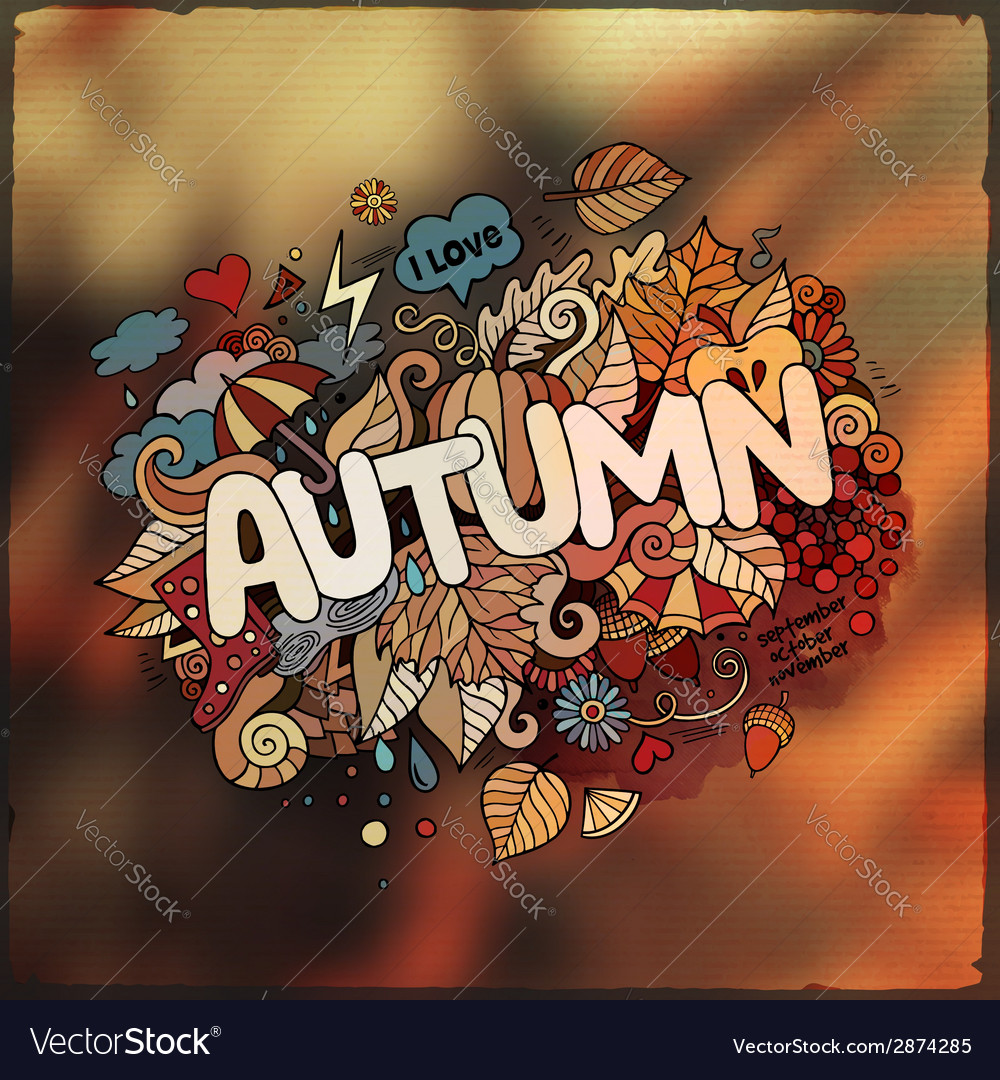 Autumn hand lettering and doodles elements vector | Price: 1 Credit (USD $1)