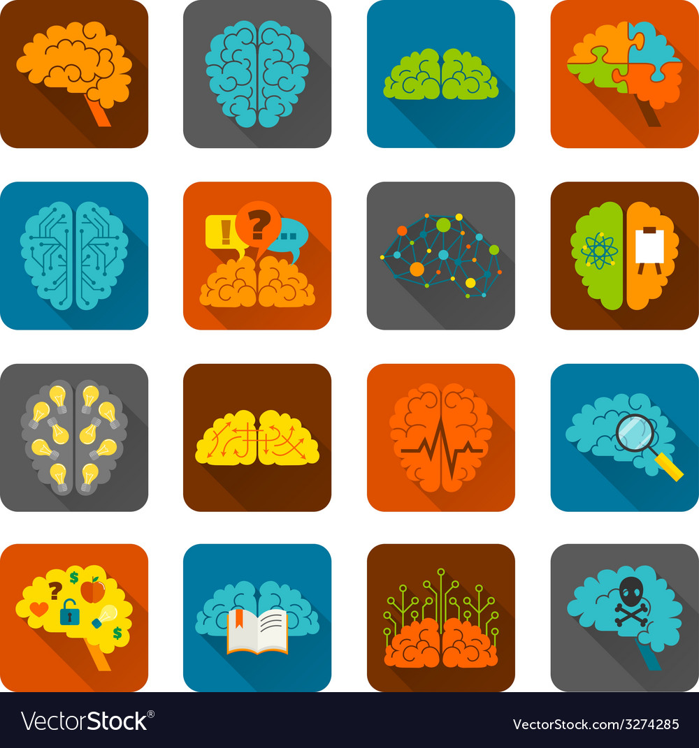 Brain icons flat set vector | Price: 1 Credit (USD $1)