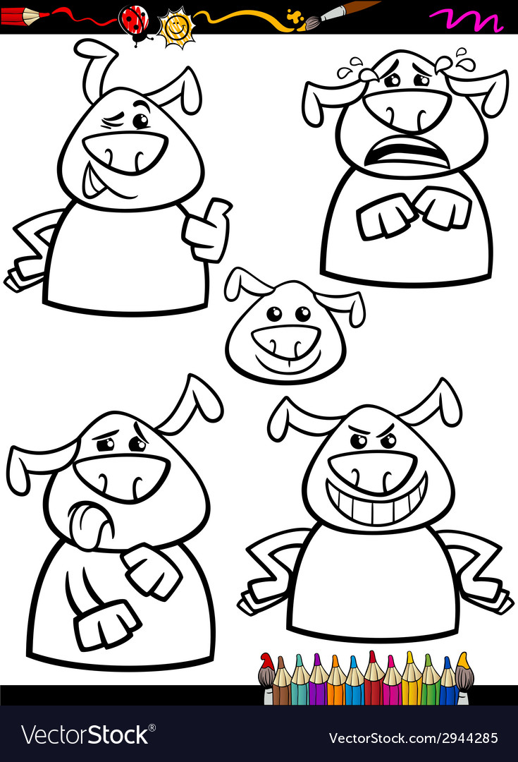 Dog emotion set cartoon coloring page vector | Price: 1 Credit (USD $1)