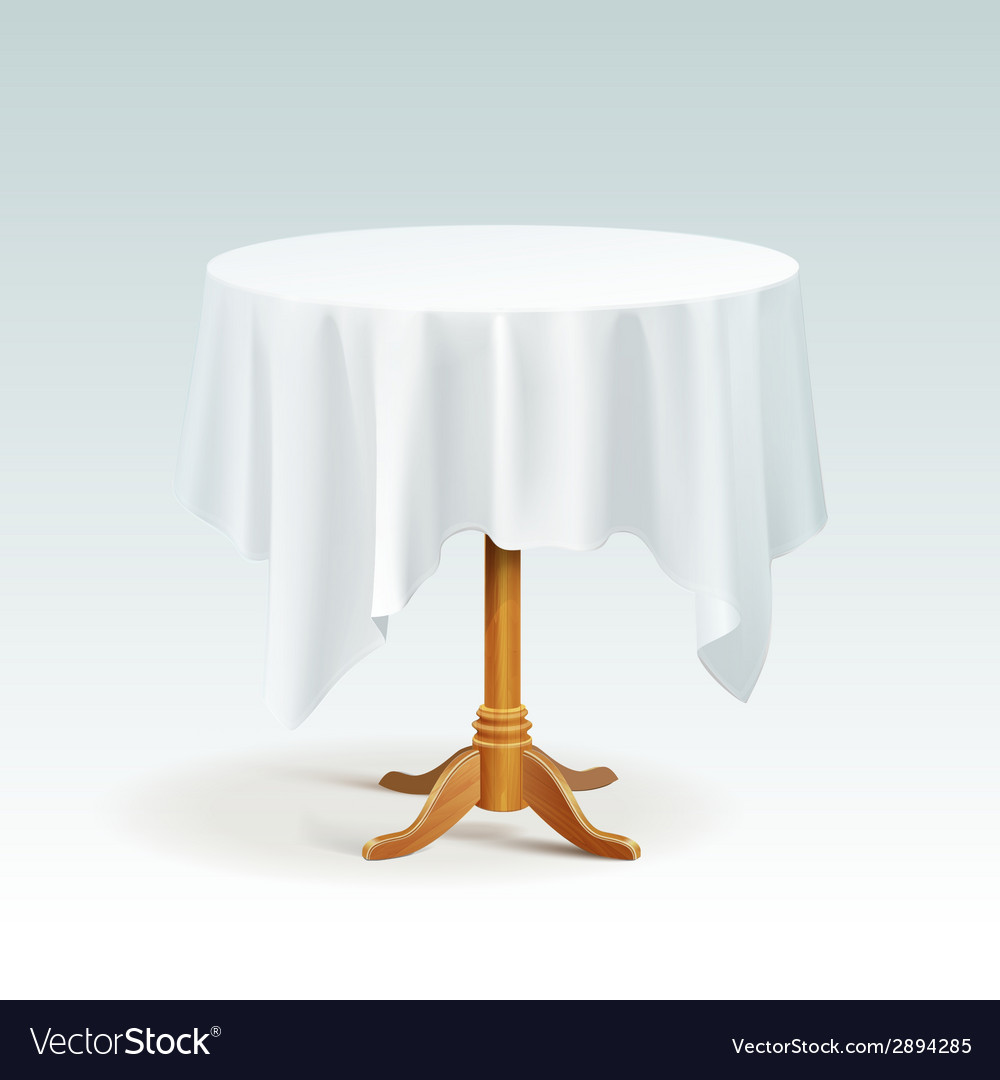 Empty wood round table with tablecloth vector | Price: 1 Credit (USD $1)
