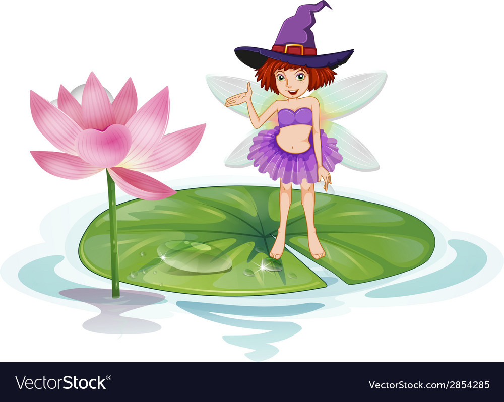 Fairy and lotus vector | Price: 3 Credit (USD $3)