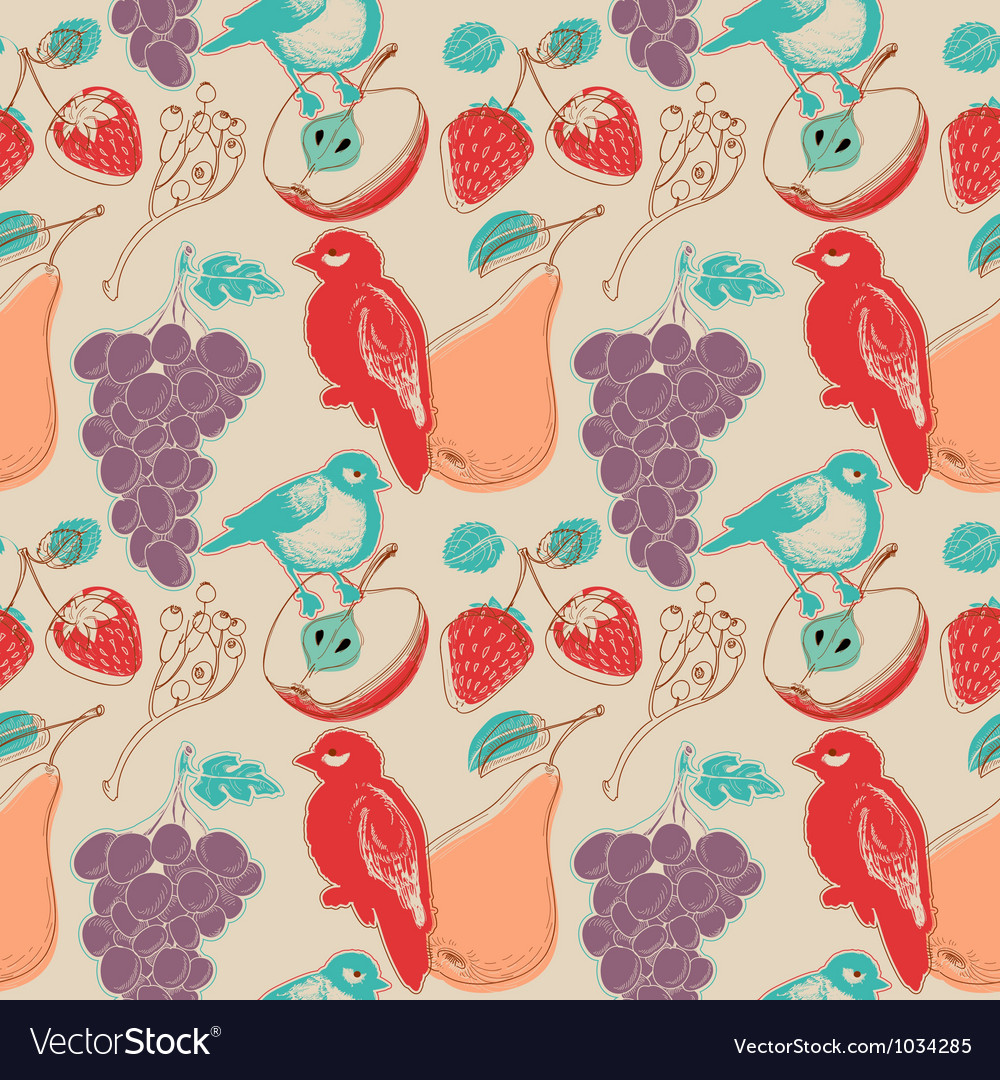 Fruits and birds retro seamless pattern vector | Price: 1 Credit (USD $1)