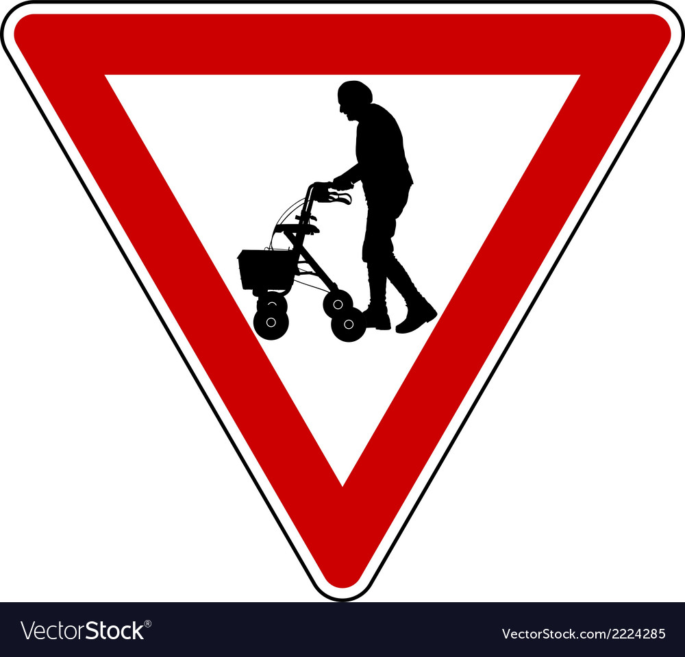 Give way to elderly people vector | Price: 1 Credit (USD $1)