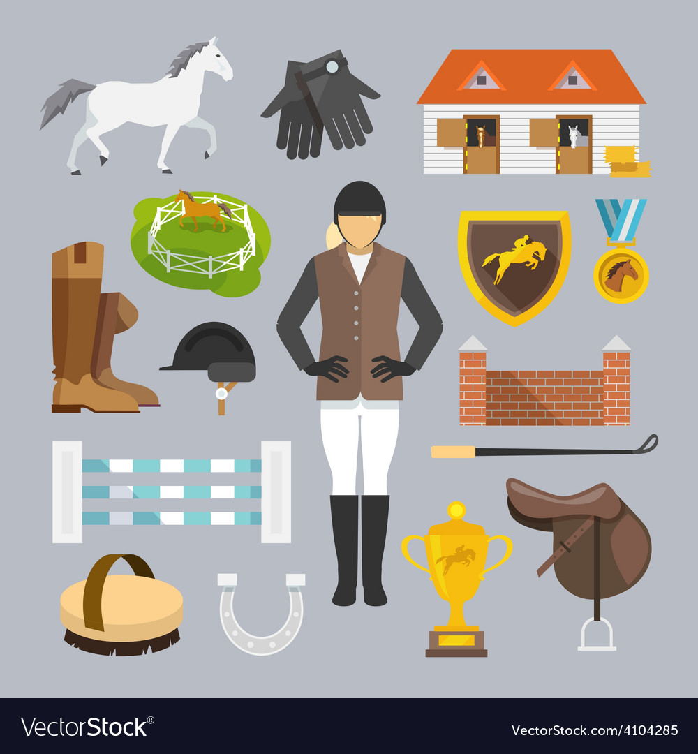Jockey icons flat vector | Price: 1 Credit (USD $1)